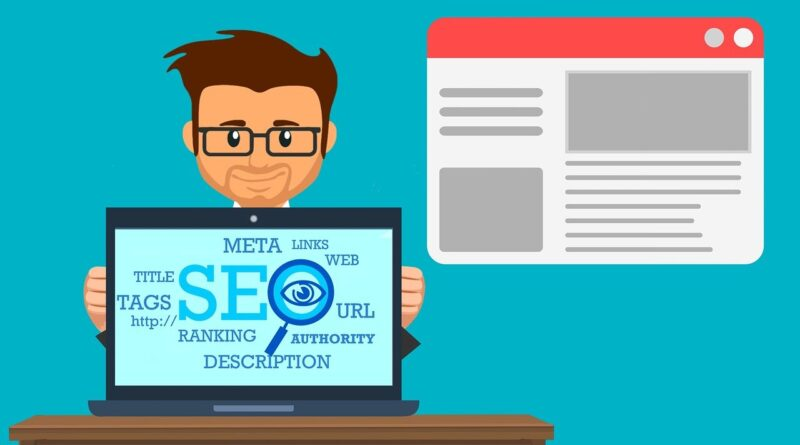 Man sitting behind a laptop, SEO-related terms on the screen, Optimize Your Site Structure